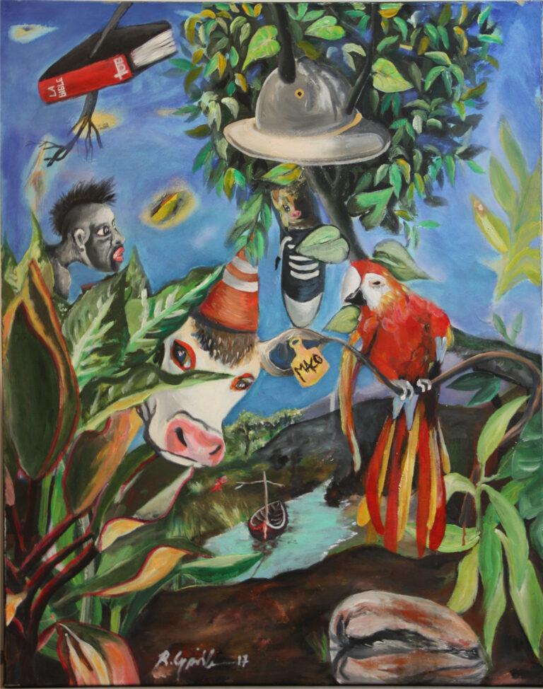 Ronald Cyrille aka B;Bird Colon nid, Acrylique sur toile, 97,3 x 97 cm, 2017