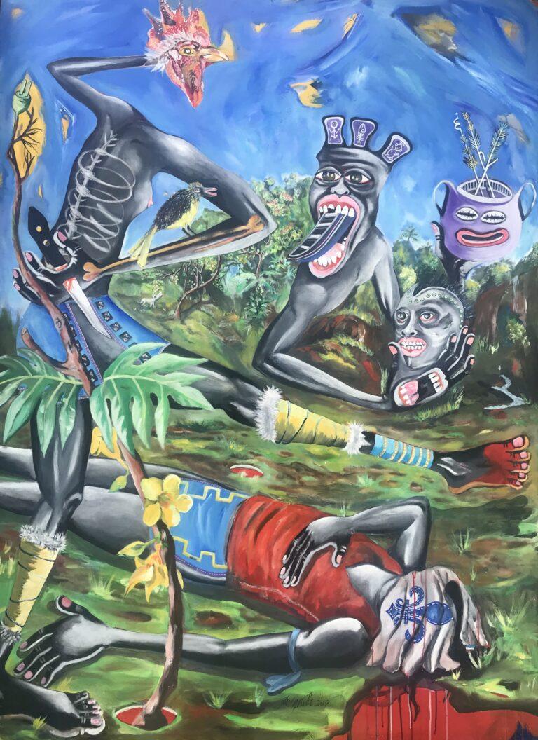 Tribute, Ronald Cyrille Aka BBird, 2014, Acrylique sur toile, 200 x 145 cm